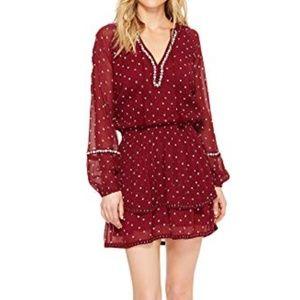 PAIGE Shanti Dress Red White Long Sleeve